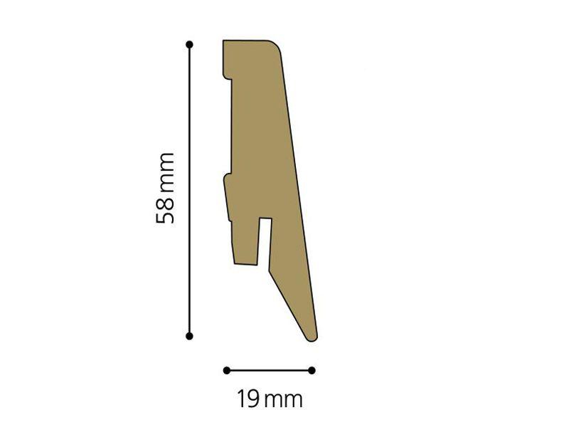 Rooms soklová lišta R1 19 x 58 mm